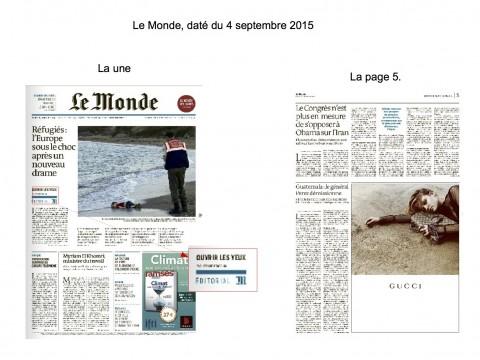 Le Monde 2015 - Aylan Kurdi - publicité Gucci(2)
